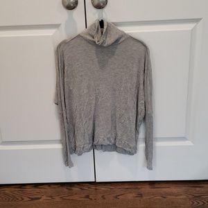 Gray Dolman Mock Neck Sweater Shirt